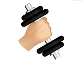 Hand and dumbbell, gym icon (PSD)