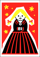 Matchbox label (girl) by Rones