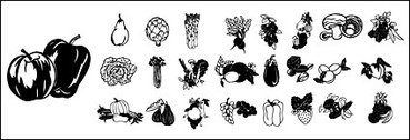 Black and white vector material fruits and vegetables