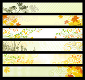 6 logo banner vector of plant material