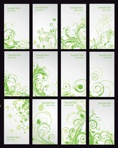 Green Floral Card Vector Set