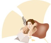 Girl in lay position vector 6