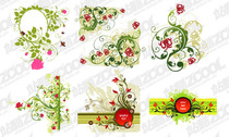 Red And Green Flower Pattern Combination Of