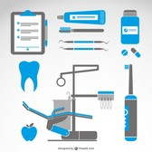 Dentist symbols medical set