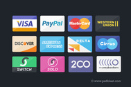 Flat Credit Card Payment Icons Set