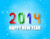 2014 Happy New Year Colorful Origami Style on Blue Background