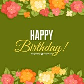 Birthday flowers card template