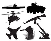 Stock Vector Silhouette Series Of Military Weapons
