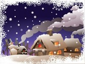 Cozy Cottages Snowy Winter Vector Scene