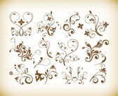 Vector Set of Decorative Floral Vintage