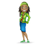 Afro-American Girl Vector Character