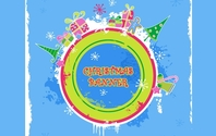 Cute Candy-colored Christmas Banner Background Border Bow