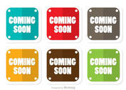 Square Coming Soon Flat Icons Vector Pack