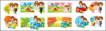 Wedding Bride and groom cartoon image
