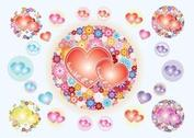Heart Flowers Vectors