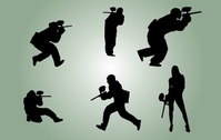Silhouette Paintball Players