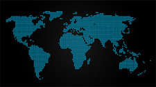 Blue dots on the world map