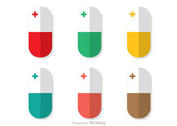 Vertical White Pills Vector Pack