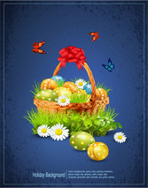 Vector illustration of Easter eggs on the beautiful green grass background