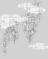 Vector Line Drawing Of Flowers-38(Cherry Blossoms, Clouds, Gilded Lattice)