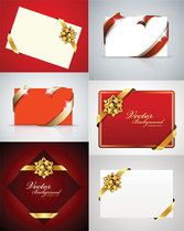 Beautiful Holiday Cards Vector Material Gift Cards Greeting Cards Ribbons