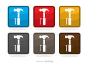 Square Hammer And Nail Icons Vector Pack