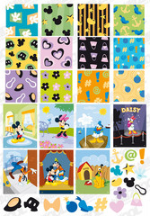 Disney Lovely Tile Vector Background Material