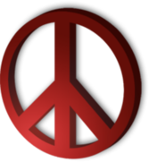 Peace Sign 3D - Red PSD