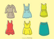 Cartoon Dresses Vectors Pack