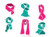 Set Of Neck Scarf Vector Pack 1