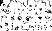 Series Of Black And White Design Elements Vector Graphic -11 (Line Shape)