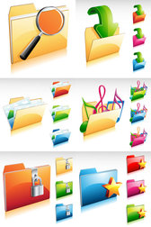 Gorgeous Folder Icon - Vector Gorgeous Folders Magnifying Glass