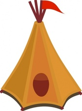 Cartoon Tipi Tent With Red Flag