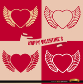 4 Valentine's winged heart backgrounds
