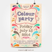 Colour party template mock-up poster