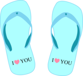 "Thong light blue with ""I love you"