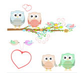 Cute Owls and Birds on a Branch Illustration
