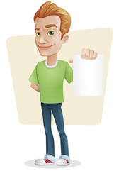 Casual Guy Vector Character Holding a Note