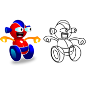 Funny Wheeled Robot - game character - superb quality