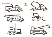 Simple Outline Trucks Icons