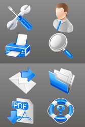 Blue Practical Business Icons - Vector Material Blue Commercial Three-dimensional