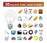 20 Realistic Work Vector Icons Set