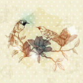 Free European retro bird and flower painting