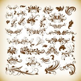 Vintage Decorative Design Elements Vector Graphics Set