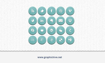 Blue Embossed Social Media Icons (Psd)