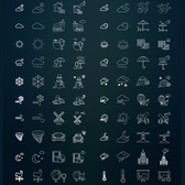 80 Fine Line Weather Icons Indra Pack