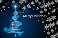 Merry Christmas Wallpaper with Sparkle Pine Tree and Snowflakes