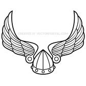 WINGS WITH VIKING HELMET VECTOR.eps