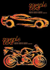 Vector Brush Cars And Motorcycles