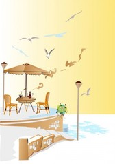 Street cafe with view illustrations